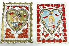 2 super cute vintage valentines c1930s cute kids scalloped edges double sided