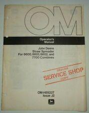 John Deere Straw Spreader For 6600 6601 6602 7700 Combines Operators Manual Jd