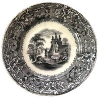 "Antique ""T J & J Mayer"" Rhone Scenery Mulberry Transferware Plate England (7.5"")"