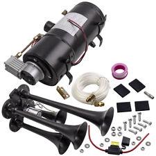 4 Trumpet Chrome train air horn kit + 3L 12v trumpet Horn compressor  150db