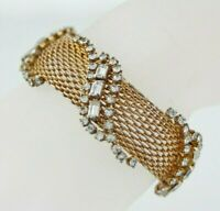 Signed HOBE Wide Gold Mesh Clear Rhinestone Bracelet SMALL 6.75""