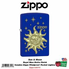 Zippo Sun And Moon, Royal Blue Matte, Laser Engraved, Windproof Lighter #28791