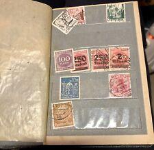 Antique Vintage STAMP Album - x12 Pages, x198 European Stamps (Black Cover)
