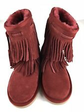 UGG Koolaburra Womens Short Suede Fringe boots Red Booties Size 6 NEW