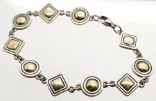 Retired James Avery Sterling Silver & 14k Yellow Gold Circles & Squares Bracelet