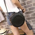 Women Leather Round Weave Cross Body Messenger Tassel Shoulder Bag Tote Handbag