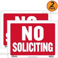 """2 Pack - No Soliciting Sign 9"""" X 12"""" Durable Plastic, Weatherproof - FAST SHIP"""