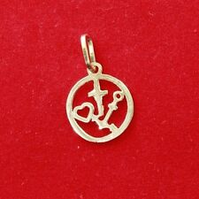 NEW 9ct Yellow Gold Charm Faith Hope Love OR Charity 375 Pendant Heart Cross