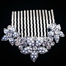 USA Hair Comb Medium using Swarovski Crystal Pin Vintage Bridal Wedding Silver