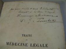 POUCHET TRAITE MEDECINE LEGALE & TOXICOLOGIE 1886 ENVOI Signé FOLIE ALIENES