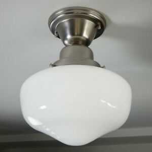 Semi-flush Schoolhouse Ceiling Light. Vintage Opal Glass Shade New Fixture Base.