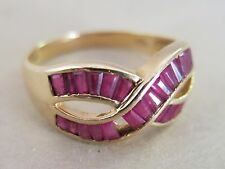 14K Yellow Gold Ring Red Ruby Baguettes Size 10 4.1g [2906]