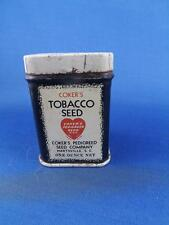 TOBACCO SEED TIN ANTIQUE VINTAGE COKER'S METAL CAN FARM AGRICULTURE SUPPLY 1 OZ