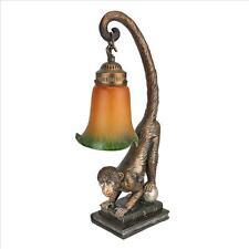 Monkey on Globe Desk Lamp Art Glass Shade Illuminated Sculpture