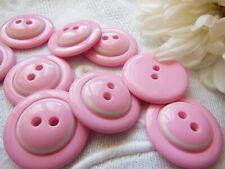 lot 6 boutons vintage rose et blanc coeur bombé  bicolore 2,2 cm ref 1393