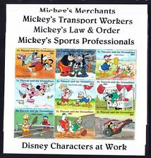 ST VINCENT 1996 Disney Occupations 1st series 7 sheets + 7 mini-sheets u/m cv£85