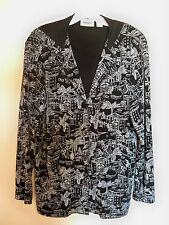 CHICO`S TRAVELERS HOODED JACKET BLACK/WHITE TROPICAL PRINT SIZE 1