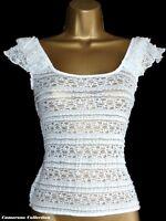 Ex-RlVER ISLAND - Ladies/Teenager Cream/White Lace Stretch Top szs 8 10 12 14 16
