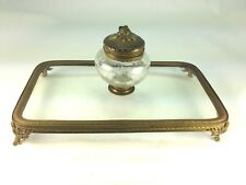 Antique French Empire Gold Gilt Glass & Etched Inkwell On Glass Top