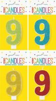 GLITTER NUMBER EACH CANDLE - 9 BIRTHDAY PARTY SUPPLIES