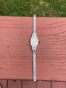 """Vtg Ladies Art Deco White Gold Bulova Watch. Working Sapphire Crown 1924 18g. 5"""""""