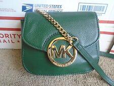 Michael Kors green leather /gold chain womens mini crossbody shoulder bag
