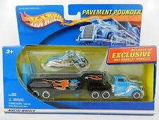 Hot Wheels *PAVEMENT POUNDER* Blue SEMI TRUCK w/SCORCHIN SCOOTER Motorcycle NIB