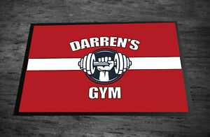 Personalised Gym Door mat Red Workout room 60 x 40 cm room mat