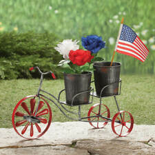 Vintage Style Artsy Garden Whimsy Metal Tandem Tricycle Two Removable Planters