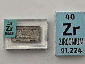 1 Gram Very Rare Buffalo Zirconium METAL INGOT 999 pure in Periodic Element tile