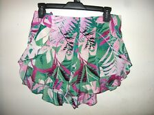 c4b0bfc482 Mustard Seed Green Pink White Floral Ruffles Polyester Shorts Size M