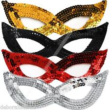 Masquerade Mask Party Zorro Cat Bandit Sequin Sequined EYE MASK Womens Mens Kids