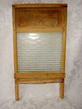 PRIMITIVE VINTAGE PATINA GOOD HOUSE KEEPERS / NATIONAL GLASS & WOOD WASHBOARD