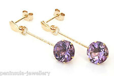 9ct Gold Amethyst round Drop Earrings Gift Boxed Made in UK