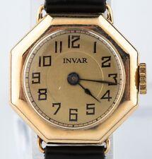 Vintage 14k Oro Amarillo de Mujer Invar Octágono Reloj con Correa Cuero 15 Joyas
