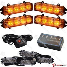 16 LED 4 inch Amber Light Construction Utility Marker Warn Strobe Flash Hazard