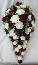 BRIDES TEARDROP BOUQUET, IVORY AND BURGUNDY ROSES, ARTIFICIAL WEDDING FLOWERS