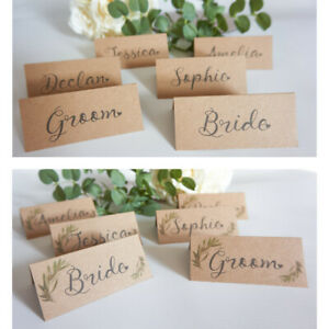 6 x personalised Wedding table NAME place CARDS rustic greenery recycled kraft