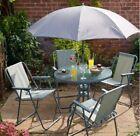 6 Piece Patio Set Summer Garden Furniture Grey   4 Chairs + Table + Parasol
