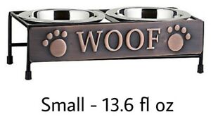 """Top Paw® """"Woof"""" Copper Metal Double Diner Elevated Dog Bowl Set - SMALL 13.6 oz"""