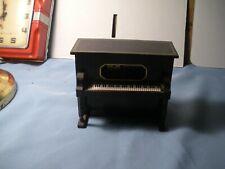 Black Wooden Piano Music Box Sanyo Made In Japan.