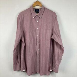Charles Tyrwhitt Mens Button Up Shirt Size XL Slim Red Long Sleeve Collared