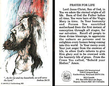 CATHOLIC HOLY CARD  PRAYER FOR LIFE