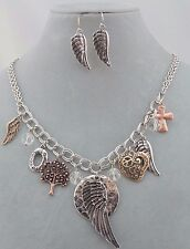 Fashion Jewelry Necklace Set Silver Charm Dangles Angel Wing Tree Cross NEW