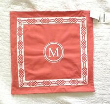 """NEW! Pottery Barn Personalized Alphabet """" M """" embroidered Pillow Cover 18"""" coral"""