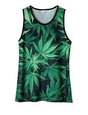 Cannabis Leaves Green Tank Top Vest (legalise festival weed dope vest)