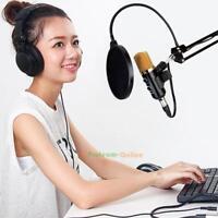 USB Condenser Studio Sound Recording Microphone Mic w/ Shock Mount Tripod Stand