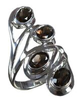 Handmade 925 Solid Sterling Silver Ring Natural Smoky Topaz US Size 8 R1404