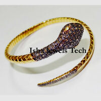 Handmade Natural Rose Cut Diamond Gold & Sterling Silver Snake Bangle Bracelet