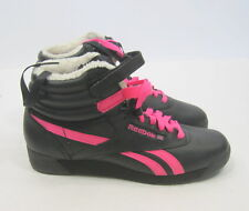 Reebok Womens Freestyle High Winter Brights Black Neon Pink Pap 2-875355 Size 7